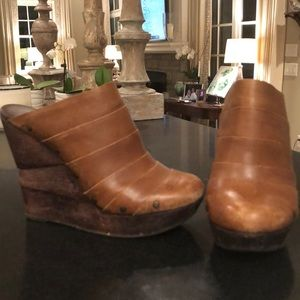 DVF wooden leather wedge clogs